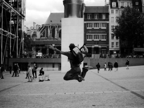 Leaping in front of the Centre Pompidou in Paris
